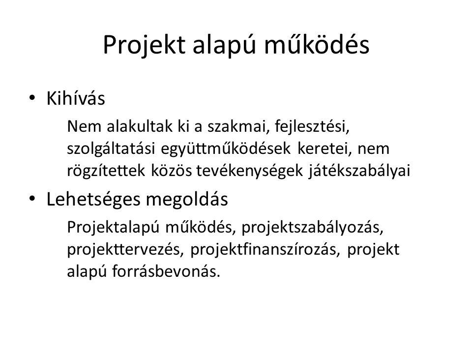 Projekt alapú működés • Kihívás Nem alakultak ki a szakmai, fejlesztési, szolgáltatási együttműködések keretei, nem rögzítettek közös tevékenységek játékszabályai • Lehetséges megoldás Projektalapú működés, projektszabályozás, projekttervezés, projektfinanszírozás, projekt alapú forrásbevonás.