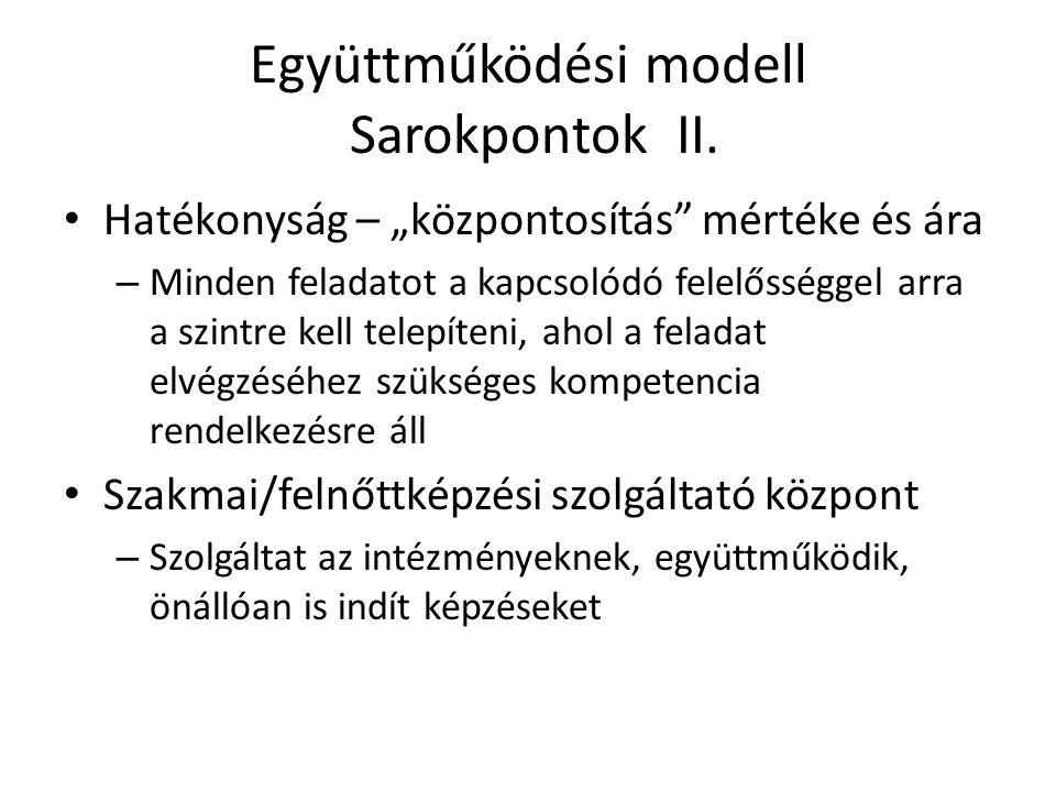 """Együttműködési modell Sarokpontok II. • Hatékonyság – """"központosítás"""" mértéke és ára – Minden feladatot a kapcsolódó felelősséggel arra a szintre kell"""
