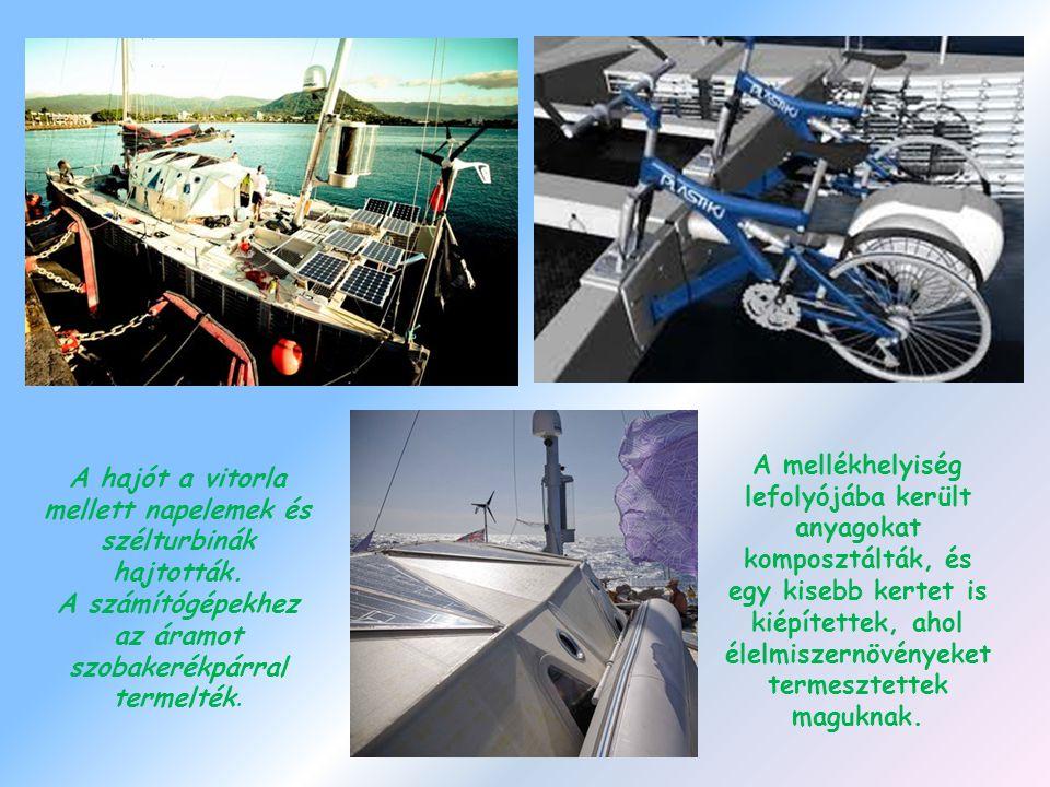 A hajót a vitorla mellett napelemek és szélturbinák hajtották.