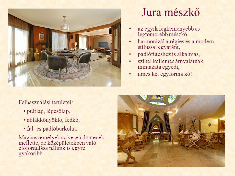 Jura mészkő •az egyik legkeményebb és legtömörebb mészkő, •harmonizál a régies és a modern stílussal egyaránt, •padlófűtéshez is alkalmas, •színei kel
