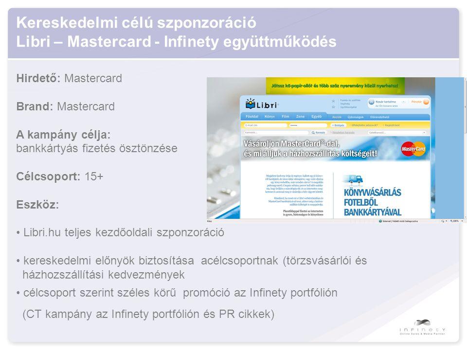 Kereskedelmi célú szponzoráció Libri – Mastercard - Infinety együttműködés Hirdető: Mastercard Brand: Mastercard A kampány célja: bankkártyás fizetés ösztönzése Célcsoport: 15+ Eszköz: • Libri.hu teljes kezdőoldali szponzoráció • kereskedelmi előnyök biztosítása acélcsoportnak (törzsvásárlói és házhozszállítási kedvezmények • célcsoport szerint széles körű promóció az Infinety portfólión (CT kampány az Infinety portfólión és PR cikkek)