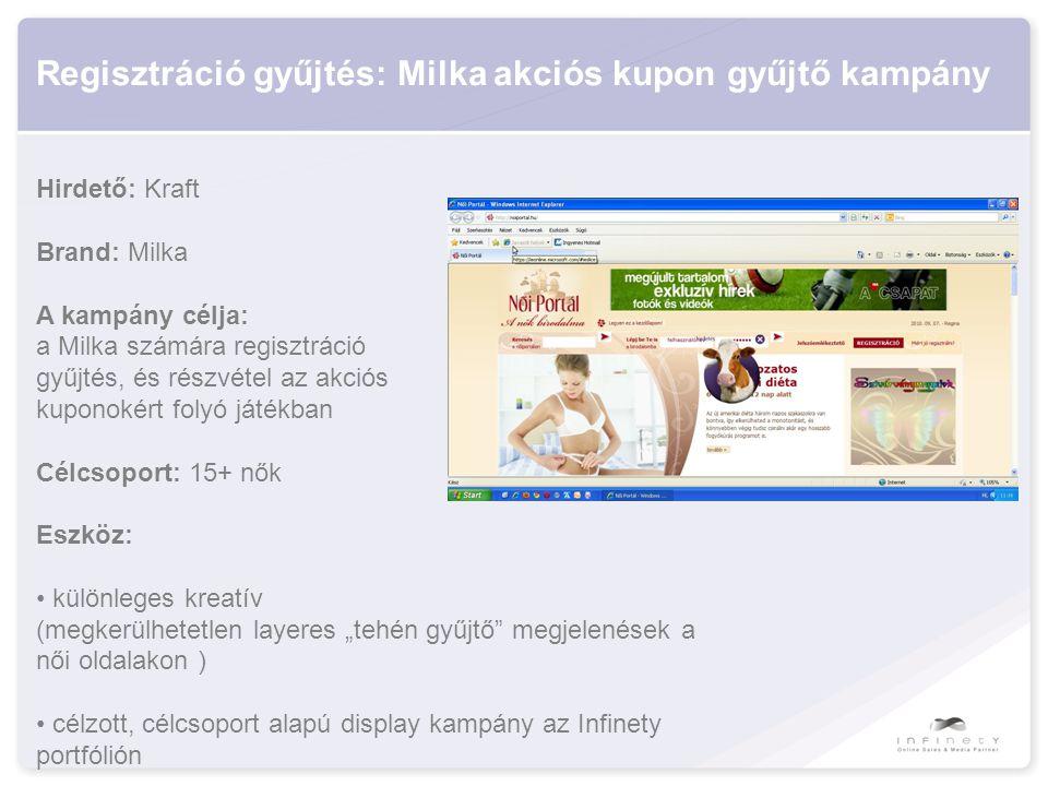 """Regisztráció gyűjtés: Milka akciós kupon gyűjtő kampány Hirdető: Kraft Brand: Milka A kampány célja: a Milka számára regisztráció gyűjtés, és részvétel az akciós kuponokért folyó játékban Célcsoport: 15+ nők Eszköz: • különleges kreatív (megkerülhetetlen layeres """"tehén gyűjtő megjelenések a női oldalakon ) • célzott, célcsoport alapú display kampány az Infinety portfólión"""