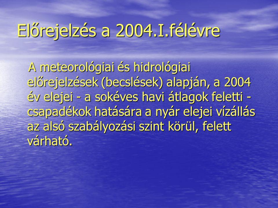 Előrejelzés a 2004.I.félévre A meteorológiai és hidrológiai előrejelzések (becslések) alapján, a 2004 év elejei - a sokéves havi átlagok feletti - csapadékok hatására a nyár elejei vízállás az alsó szabályozási szint körül, felett várható.