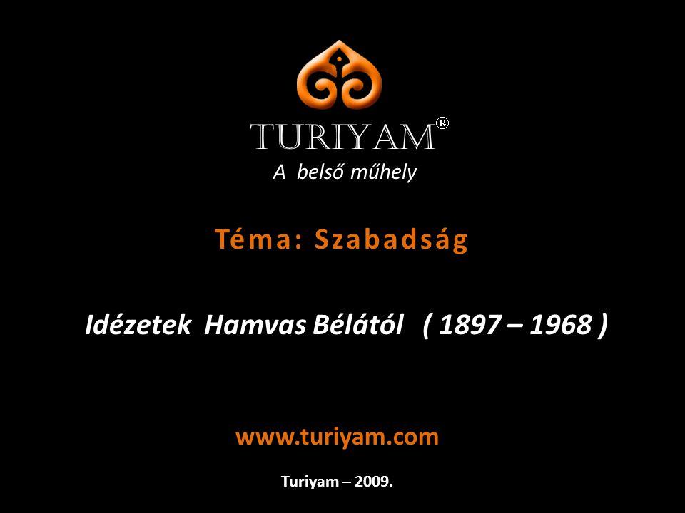 A belső műhely Idézetek Hamvas Bélától ( 1897 – 1968 ) Turiyam – 2009. www.turiyam.com TURIYAM  Téma: Szabadság