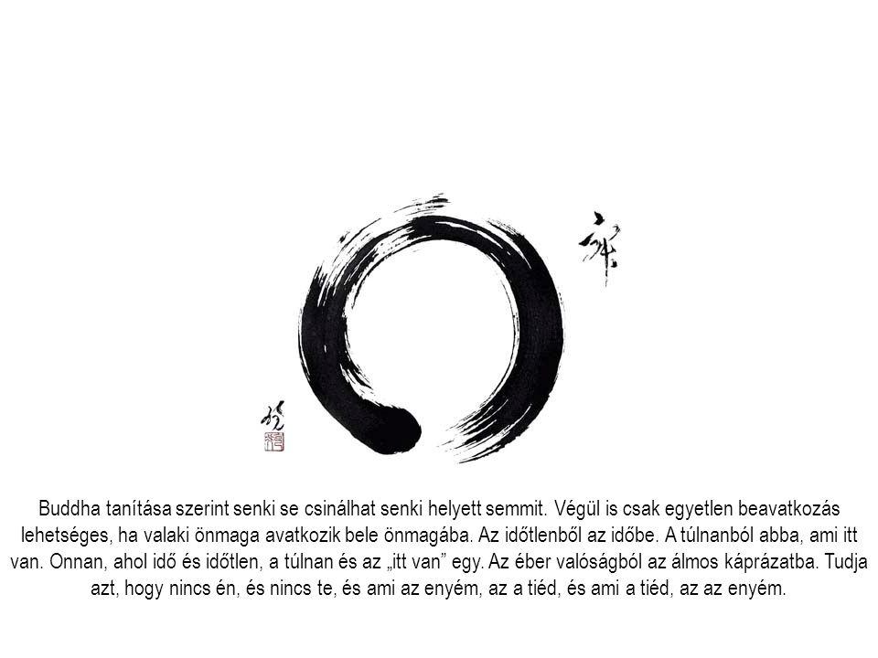 Buddha tanítása szerint senki se csinálhat senki helyett semmit. Végül is csak egyetlen beavatkozás lehetséges, ha valaki önmaga avatkozik bele önmagá