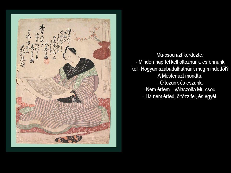 Mu-csou azt kérdezte: - Minden nap fel kell öltöznünk, és ennünk kell. Hogyan szabadulhatnánk meg mindettől? A Mester azt mondta: - Öltözünk és eszünk