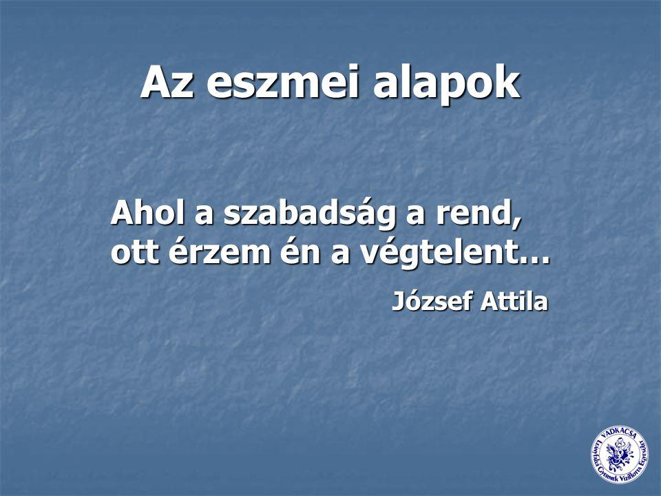 Az eszmei alapok Ahol a szabadság a rend, ott érzem én a végtelent… József Attila