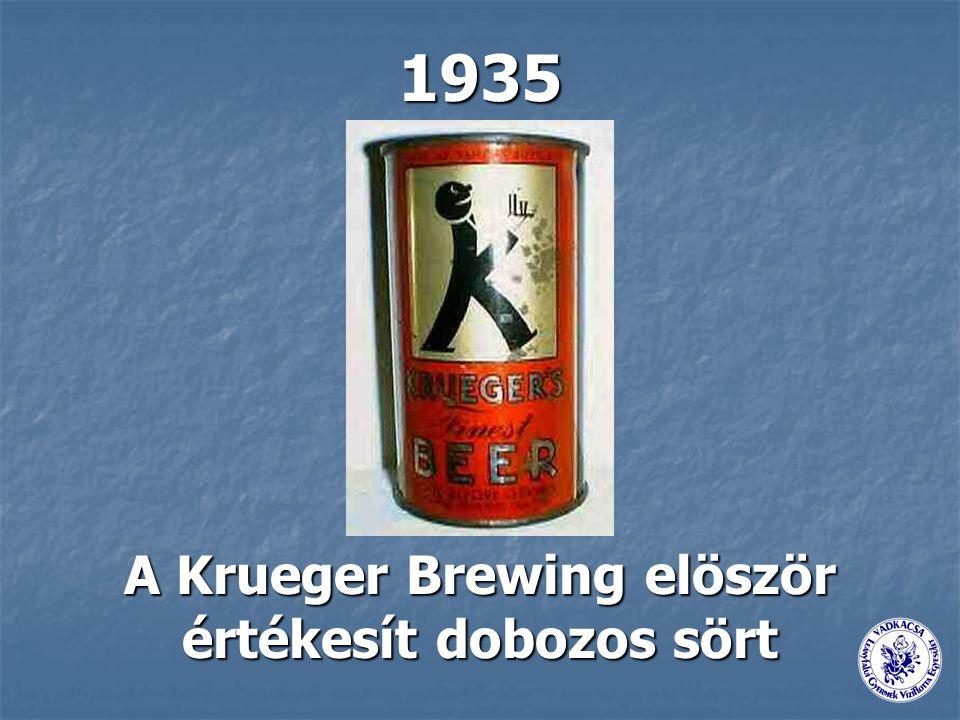 1935 A Krueger Brewing elöször értékesít dobozos sört