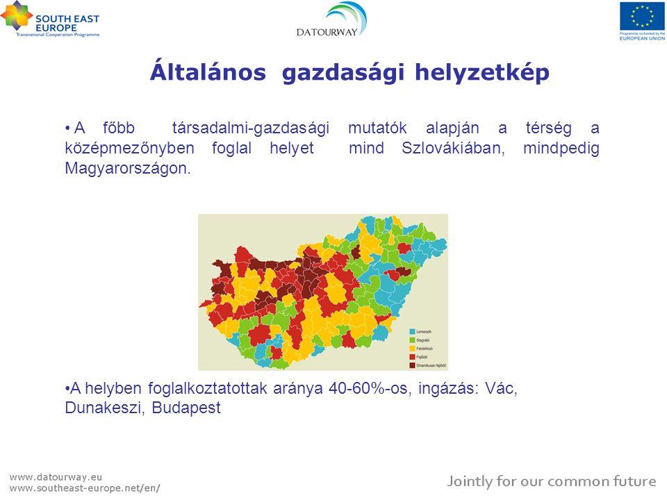 Általános gazdasági helyzetkép • A főbb társadalmi-gazdasági mutatók alapján a térség a középmezőnyben foglal helyet mind Szlovákiában, mindpedig Magyarországon.