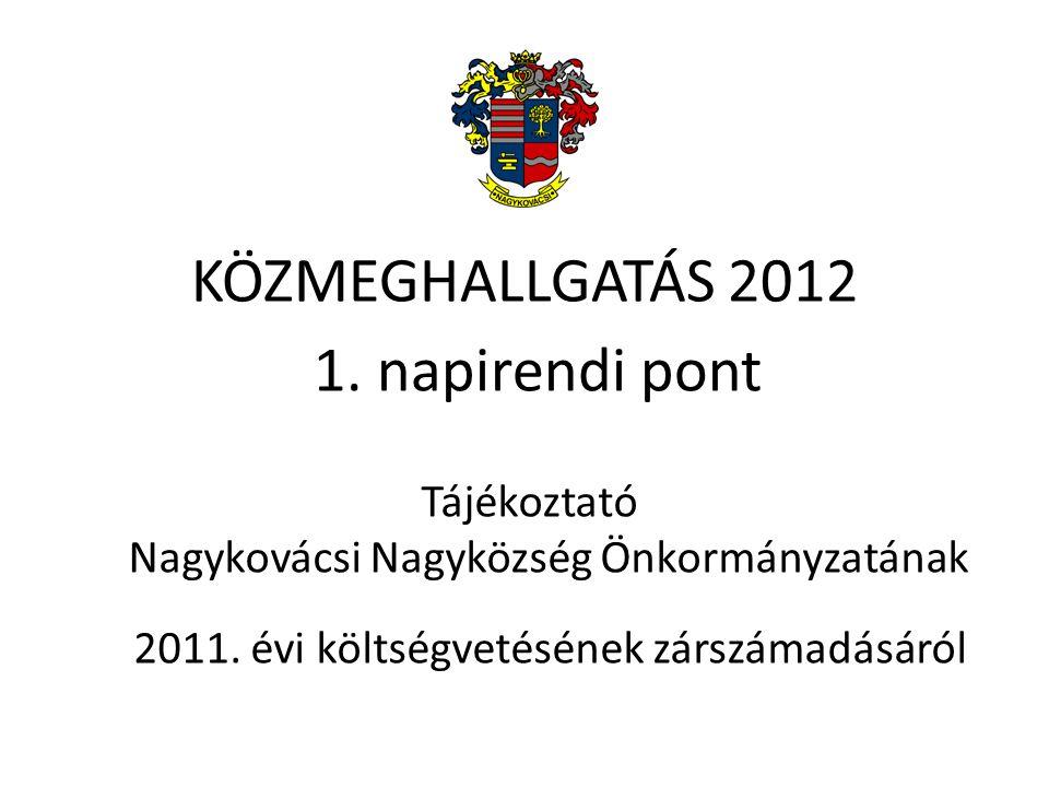1. napirendi pont Tájékoztató Nagykovácsi Nagyközség Önkormányzatának 2011.