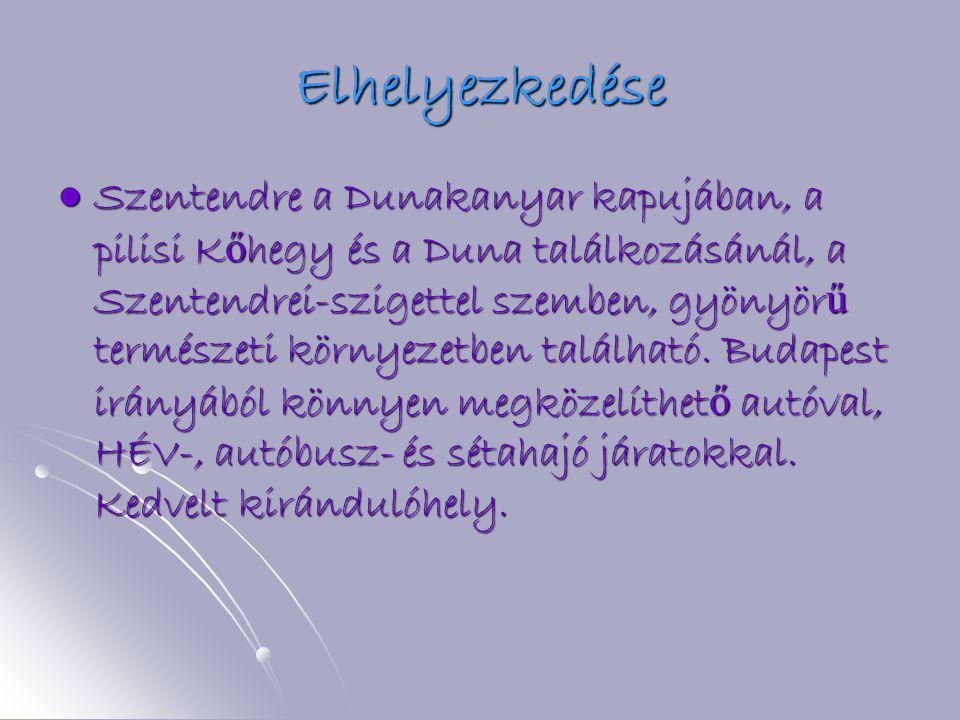 Elhelyezkedése  Szentendre a Dunakanyar kapujában, a pilisi K ő hegy és a Duna találkozásánál, a Szentendrei-szigettel szemben, gyönyör ű természeti környezetben található.