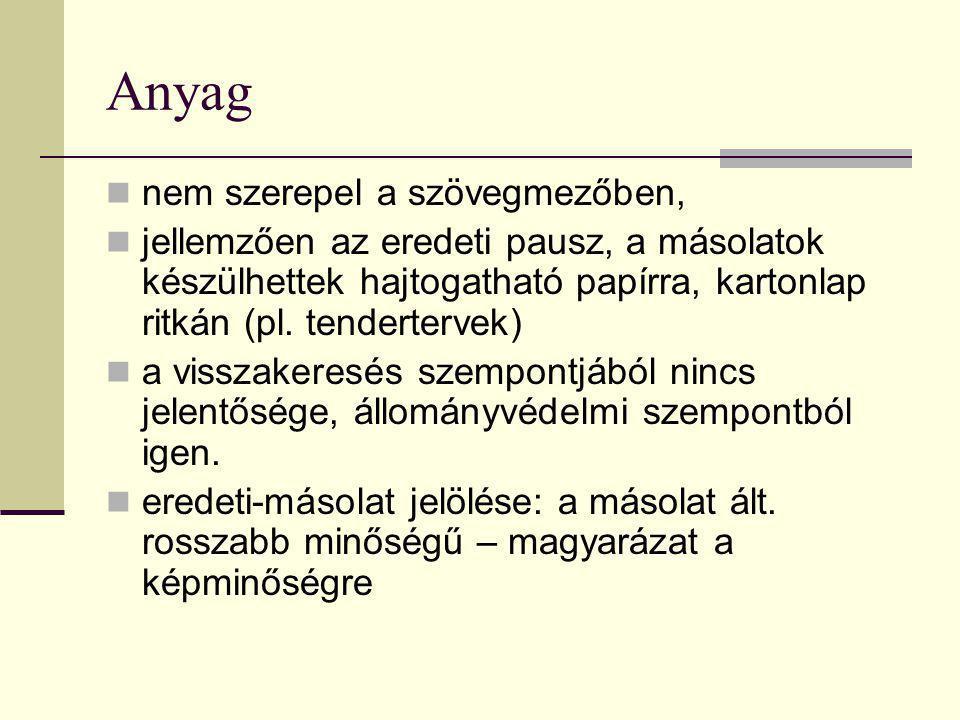 Anyag  nem szerepel a szövegmezőben,  jellemzően az eredeti pausz, a másolatok készülhettek hajtogatható papírra, kartonlap ritkán (pl. tendertervek