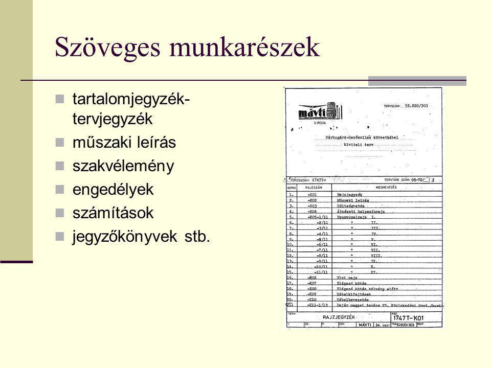 Szöveges munkarészek  tartalomjegyzék- tervjegyzék  műszaki leírás  szakvélemény  engedélyek  számítások  jegyzőkönyvek stb.