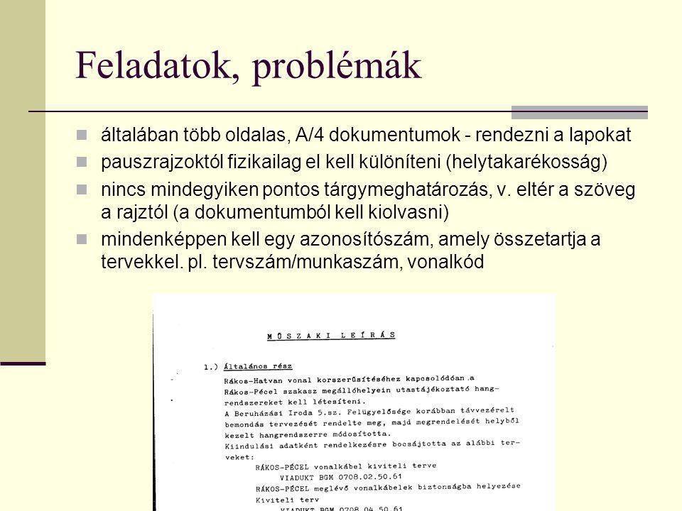 Feladatok, problémák  általában több oldalas, A/4 dokumentumok - rendezni a lapokat  pauszrajzoktól fizikailag el kell különíteni (helytakarékosság)