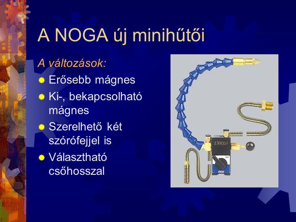 A NOGA új minihűtői A változások:  Erősebb mágnes  Ki-, bekapcsolható mágnes  Szerelhető két szórófejjel is  Választható csőhosszal