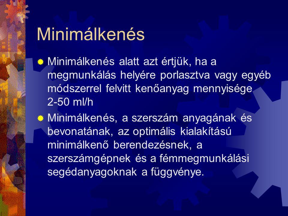 Minimálkenés  Minimálkenés alatt azt értjük, ha a megmunkálás helyére porlasztva vagy egyéb módszerrel felvitt kenőanyag mennyisége 2-50 ml/h  Minim