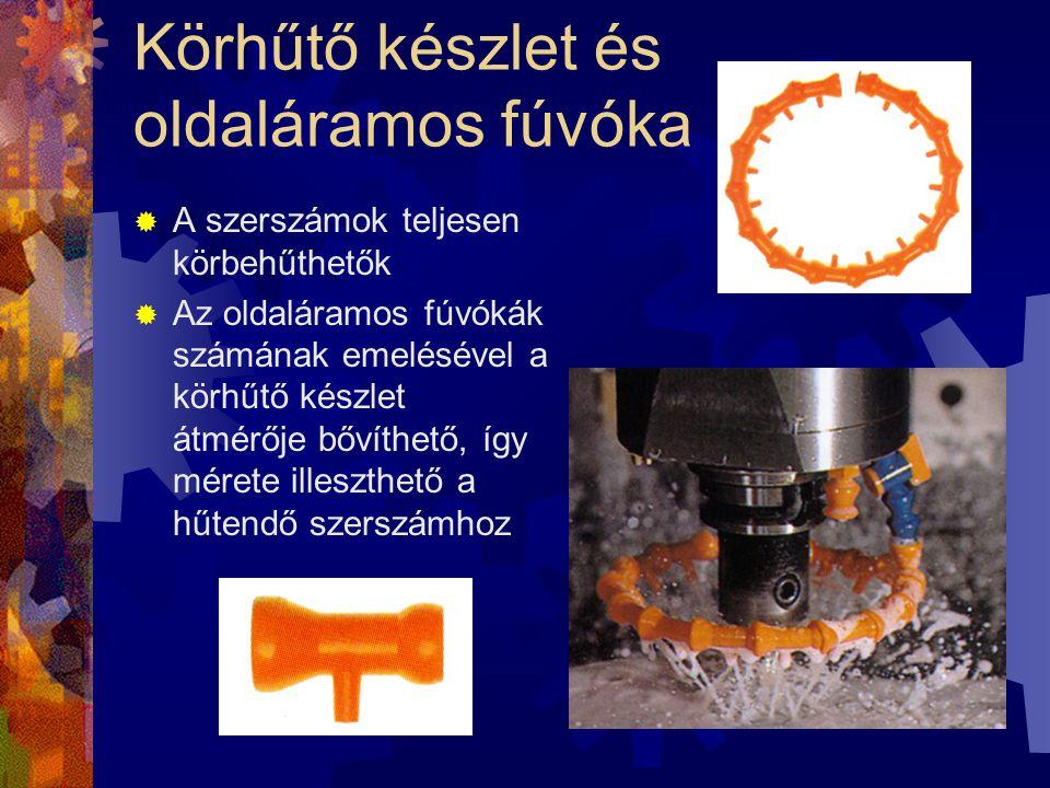 Körhűtő készlet és oldaláramos fúvóka  A szerszámok teljesen körbehűthetők  Az oldaláramos fúvókák számának emelésével a körhűtő készlet átmérője bő