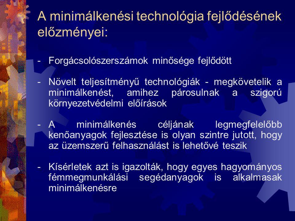 A minimálkenési technológia fejlődésének előzményei: -Forgácsolószerszámok minősége fejlődött -Növelt teljesítményű technológiák - megkövetelik a mini