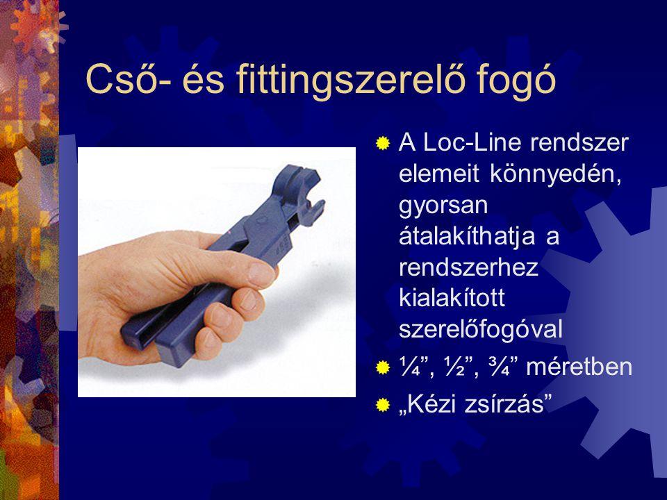 """Cső- és fittingszerelő fogó  A Loc-Line rendszer elemeit könnyedén, gyorsan átalakíthatja a rendszerhez kialakított szerelőfogóval  ¼"""", ½"""", ¾"""" méret"""