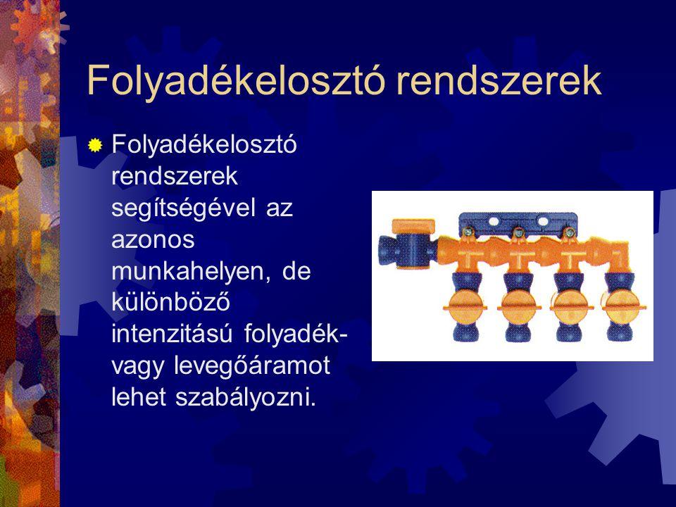 Folyadékelosztó rendszerek  Folyadékelosztó rendszerek segítségével az azonos munkahelyen, de különböző intenzitású folyadék- vagy levegőáramot lehet