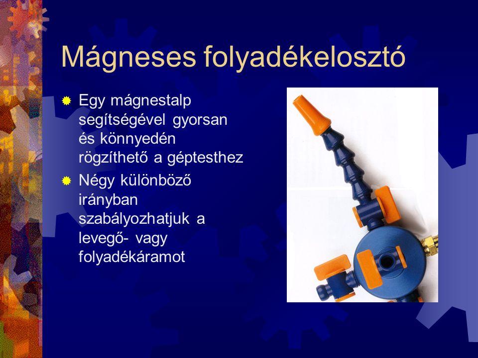Mágneses folyadékelosztó  Egy mágnestalp segítségével gyorsan és könnyedén rögzíthető a géptesthez  Négy különböző irányban szabályozhatjuk a levegő