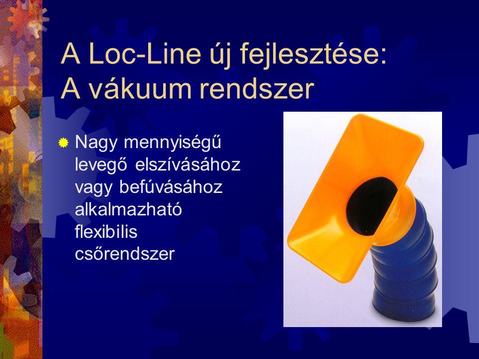 A Loc-Line új fejlesztése: A vákuum rendszer  Nagy mennyiségű levegő elszívásához vagy befúvásához alkalmazható flexibilis csőrendszer