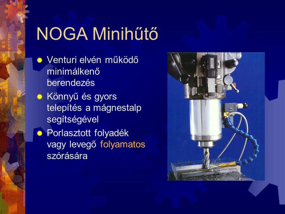 NOGA Minihűtő  Venturi elvén működő minimálkenő berendezés  Könnyű és gyors telepítés a mágnestalp segítségével  Porlasztott folyadék vagy levegő f