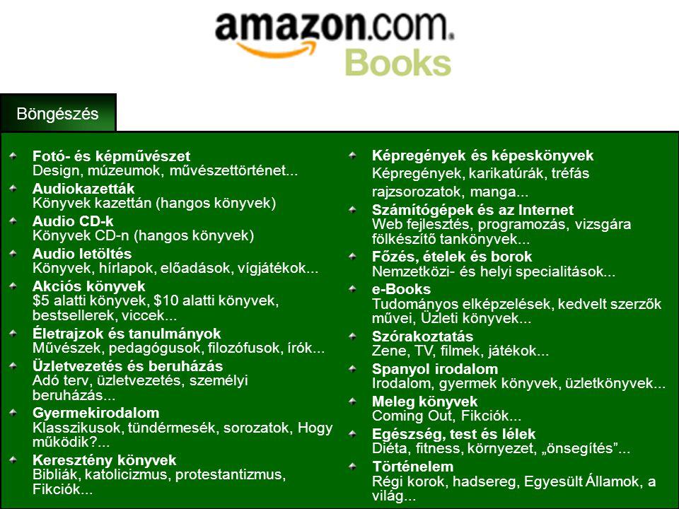 •Az Amazon.com először még csak a könyvek online forgalmazásával foglalkozott, így a könyv részlege a leggazdagabb. •Jelenleg több millió könyvet tart