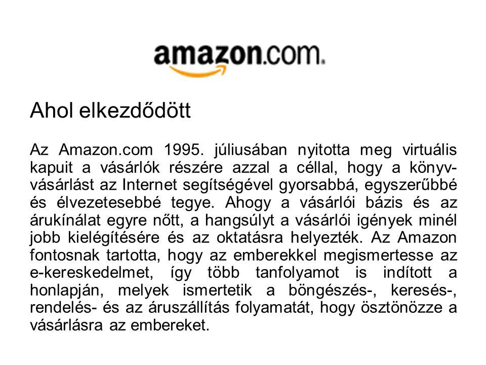 Az Amazon.com a világ egyik legnagyobb online áruháza. Amit az Interneten keresztül meglehet vásárolni, azt itt meg lehet, sőt a puszta vásárlásnál so