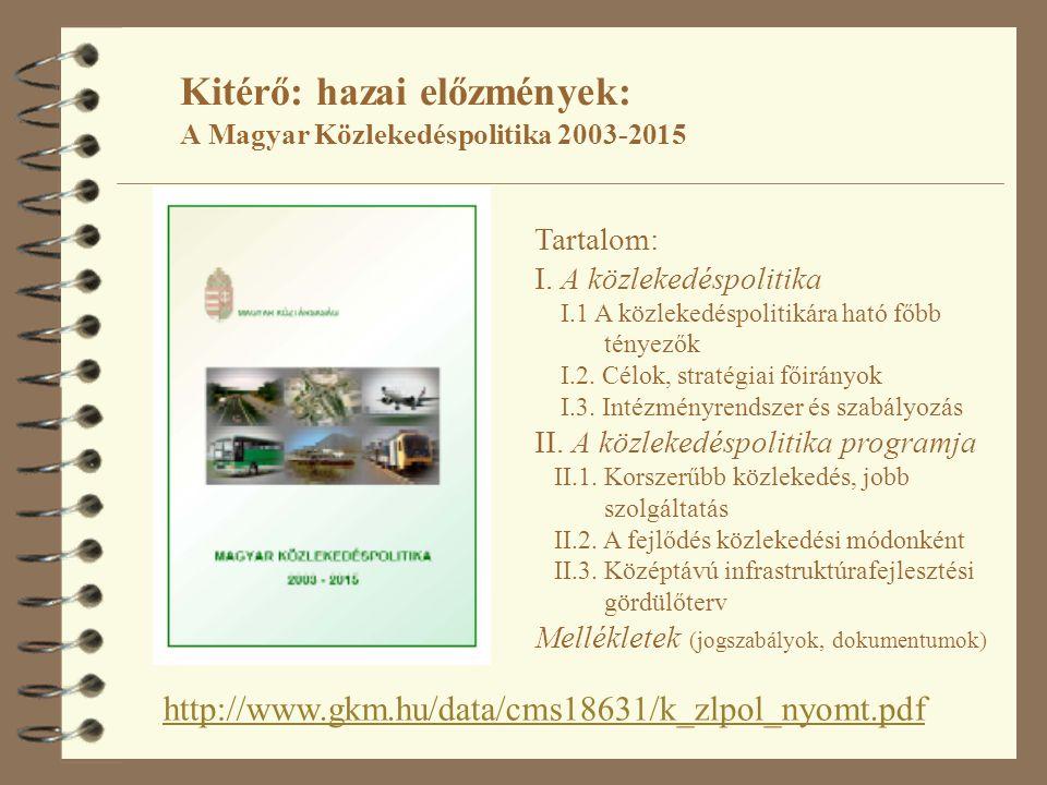 Kitérő: hazai előzmények: A Magyar Közlekedéspolitika 2003-2015 http://www.gkm.hu/data/cms18631/k_zlpol_nyomt.pdf Tartalom: I. A közlekedéspolitika I.