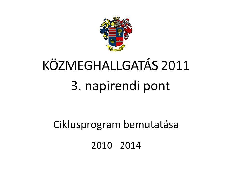 KÖZMEGHALLGATÁS 2011 Ciklusprogram bemutatása 2010 - 2014 3. napirendi pont