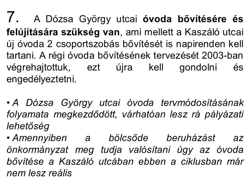 7. A Dózsa György utcai óvoda bővítésére és felújítására szükség van, ami mellett a Kaszáló utcai új óvoda 2 csoportszobás bővítését is napirenden kel