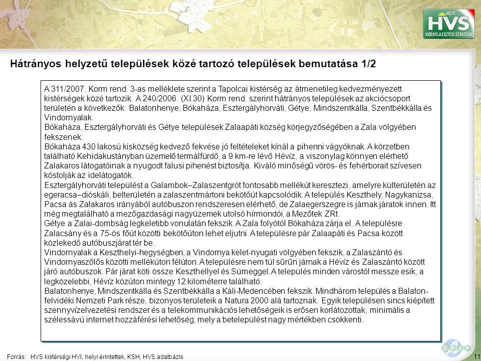 11 A 311/2007. Korm rend. 3-as melléklete szerint a Tapolcai kistérség az átmenetileg kedvezményezett kistérségek közé tartozik. A 240/2006. (XI.30) K