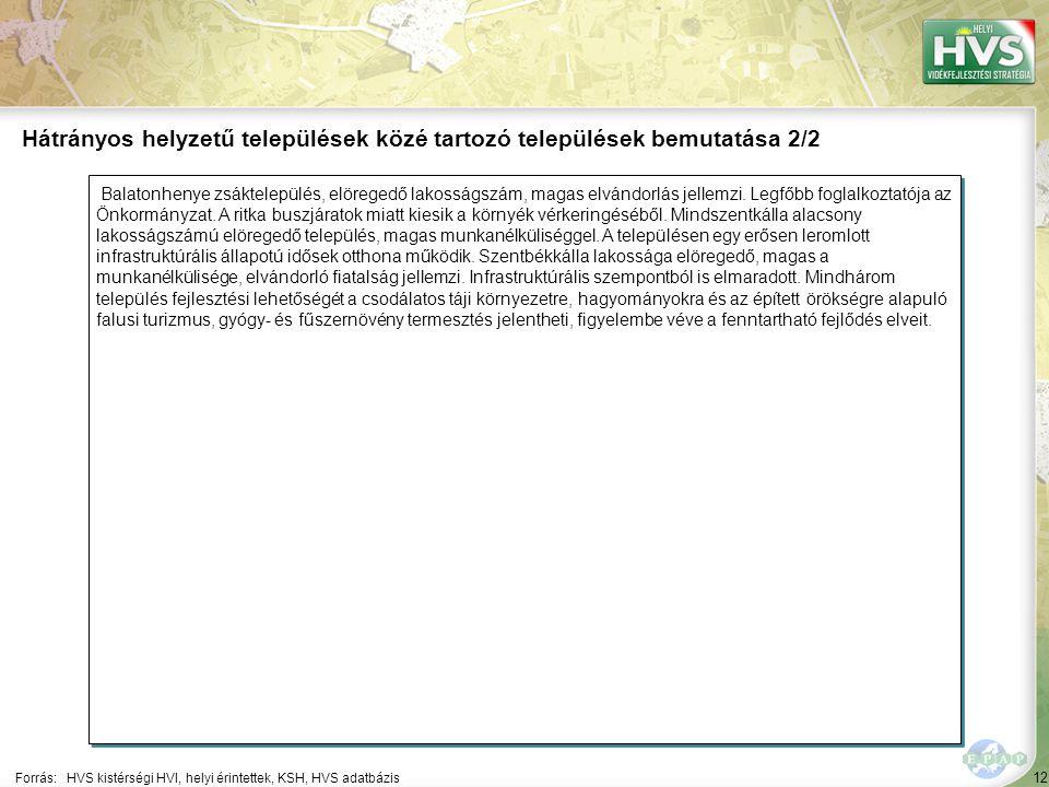 12 Balatonhenye zsáktelepülés, elöregedő lakosságszám, magas elvándorlás jellemzi. Legfőbb foglalkoztatója az Önkormányzat. A ritka buszjáratok miatt