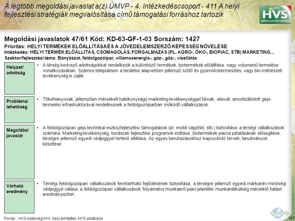 187 Forrás:HVS kistérségi HVI, helyi érintettek, HVS adatbázis Megoldási javaslatok 47/61 Kód: KD-63-GF-1-03 Sorszám: 1427 A legtöbb megoldási javasla