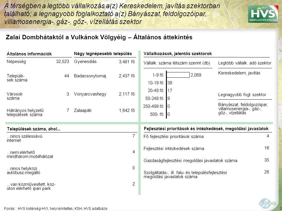 3 Forrás:HVS kistérségi HVI, helyi érintettek, KSH, HVS adatbázis A térségben a legtöbb vállalkozás a(z) Kereskedelem, javítás szektorban található; a