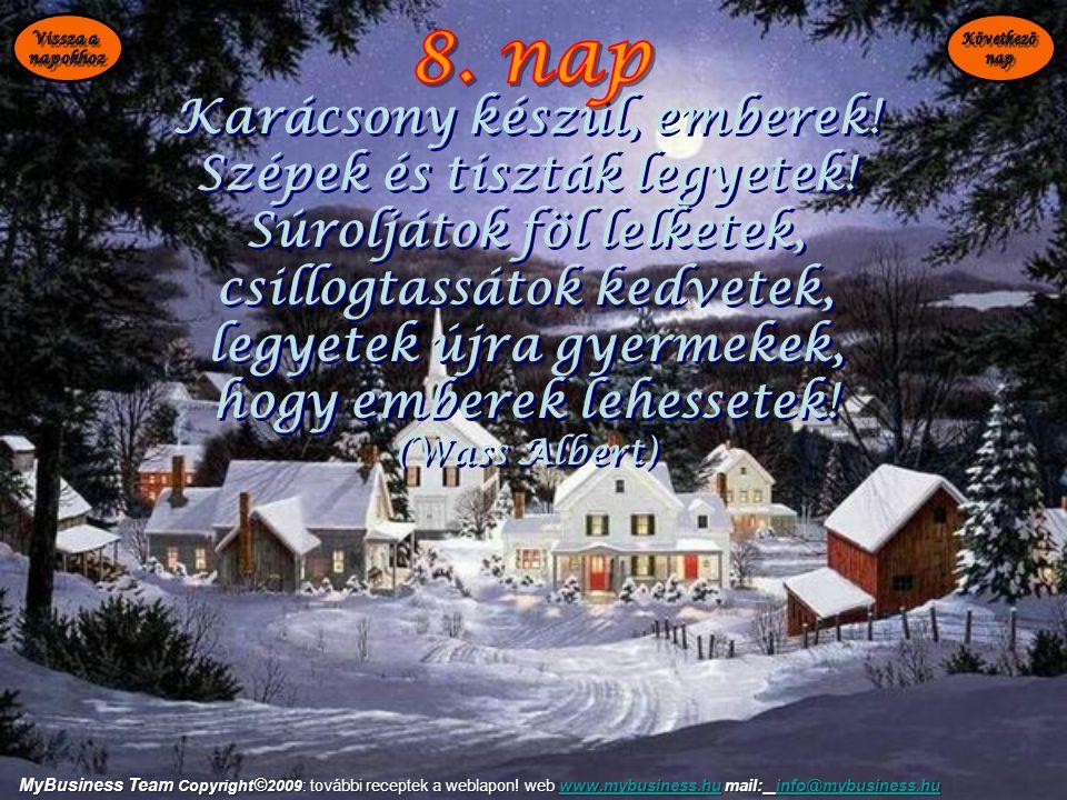 Karácsony készül, emberek! Szépek és tiszták legyetek! Súroljátok föl lelketek, csillogtassátok kedvetek, legyetek újra gyermekek, hogy emberek lehess