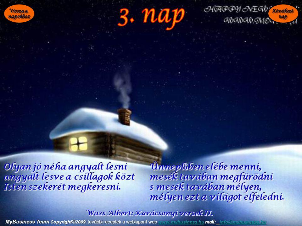 Wass Albert: Karácsonyi versek II. Olyan jó néha angyalt lesni angyalt lesve a csillagok közt Isten szekerét megkeresni. Olyan jó néha angyalt lesni a
