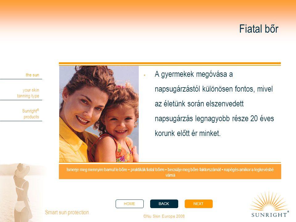 HOMEBACKNEXT the sun your skin tanning type Sunright ® products ©Nu Skin Europe 2008 Smart sun protection. Ismerje meg mennyire barnul le b ő re • pra