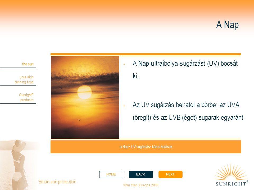 HOMEBACKNEXT the sun your skin tanning type Sunright ® products ©Nu Skin Europe 2008 Smart sun protection. A Nap  A Nap u ltra i bolya s ugárzást (UV