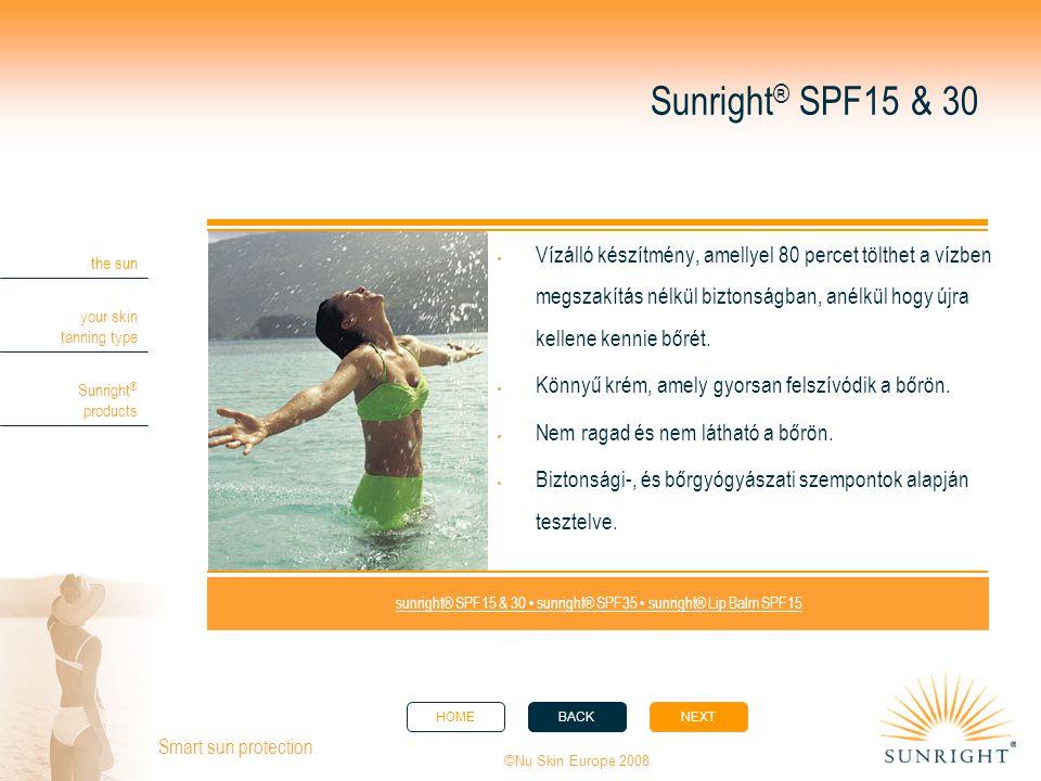 HOMEBACKNEXT the sun your skin tanning type Sunright ® products ©Nu Skin Europe 2008 Smart sun protection.  Vízálló készítmény, amellyel 80 percet tö
