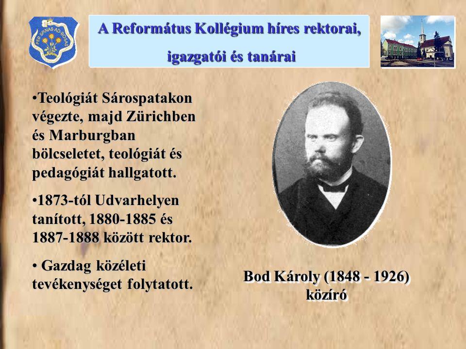 •Teológiát Sárospatakon végezte, majd Zürichben és Marburgban bölcseletet, teológiát és pedagógiát hallgatott. •1873-tól Udvarhelyen tanított, 1880-18