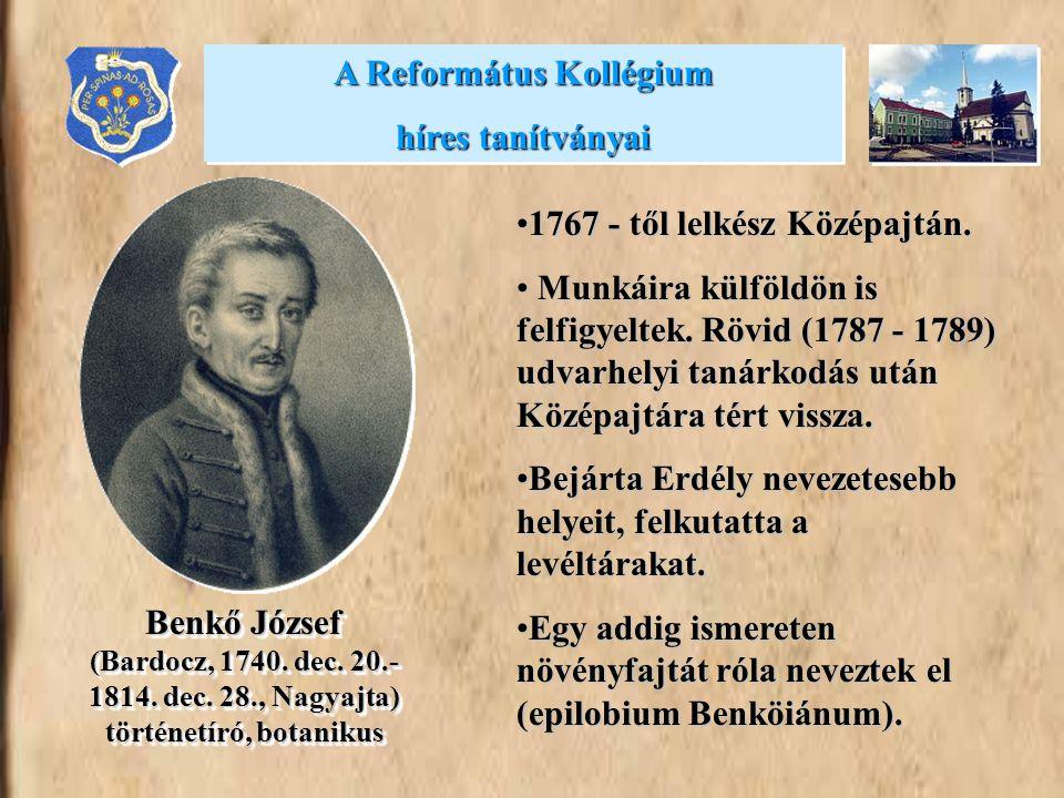 •1767 - től lelkész Középajtán. • Munkáira külföldön is felfigyeltek. Rövid (1787 - 1789) udvarhelyi tanárkodás után Középajtára tért vissza. •Bejárta