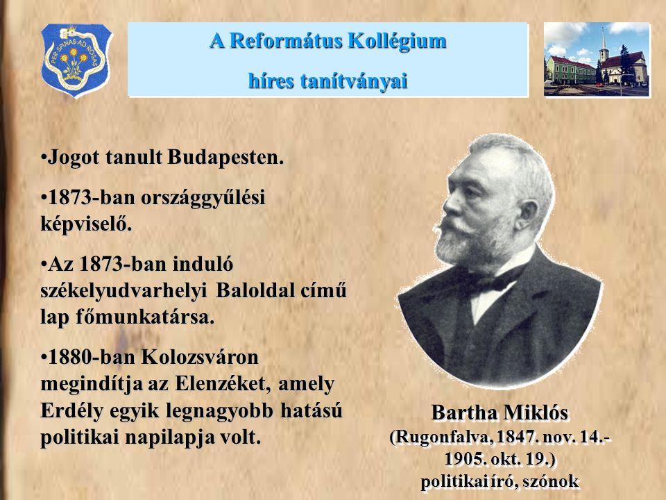 •Jogot tanult Budapesten. •1873-ban országgyűlési képviselő. •Az 1873-ban induló székelyudvarhelyi Baloldal című lap főmunkatársa. •1880-ban Kolozsvár