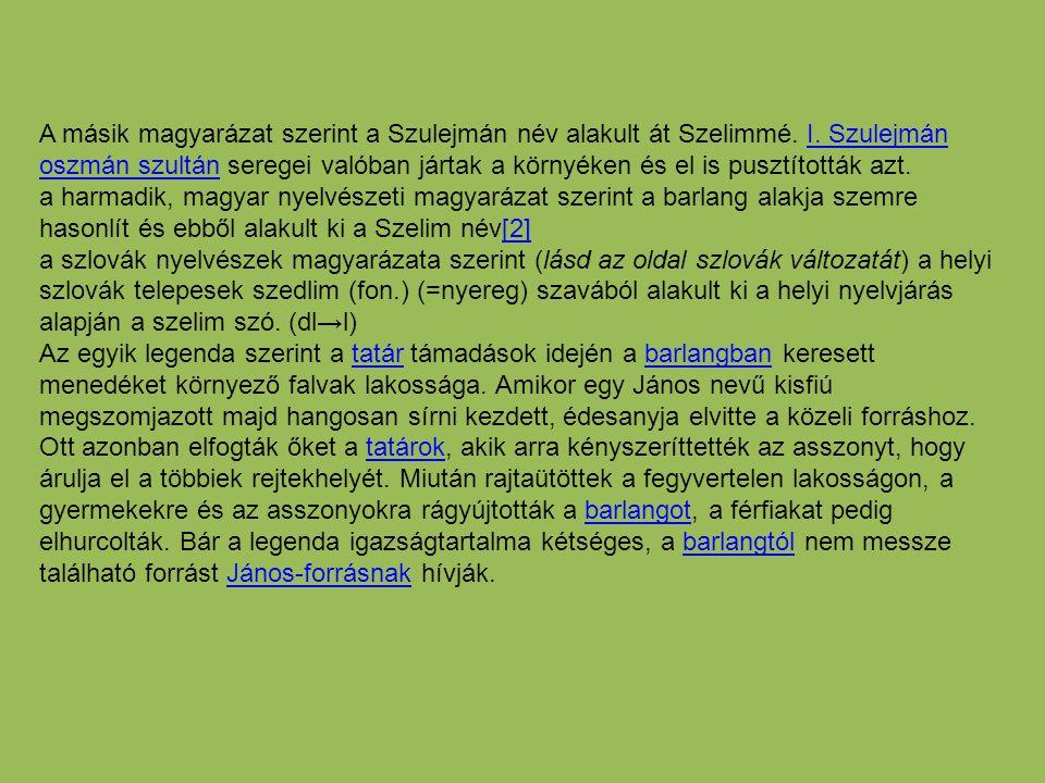 A másik magyarázat szerint a Szulejmán név alakult át Szelimmé. I. Szulejmán oszmán szultán seregei valóban jártak a környéken és el is pusztították a