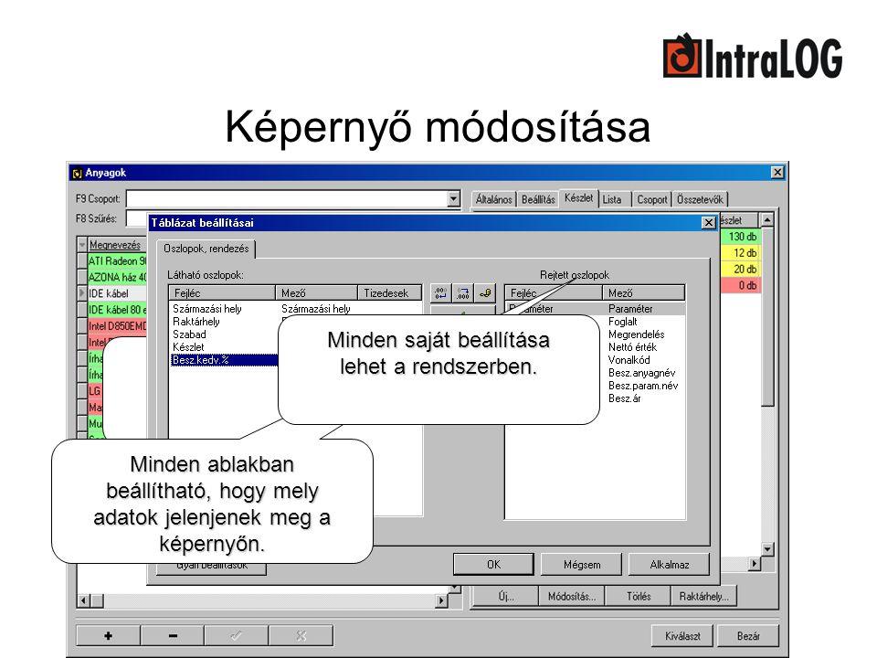 Képernyő módosítása Megváltoztatható a képernyőn megjelenő adatok sorrendje. Minden ablakban beállítható, hogy mely adatok jelenjenek meg a képernyőn.