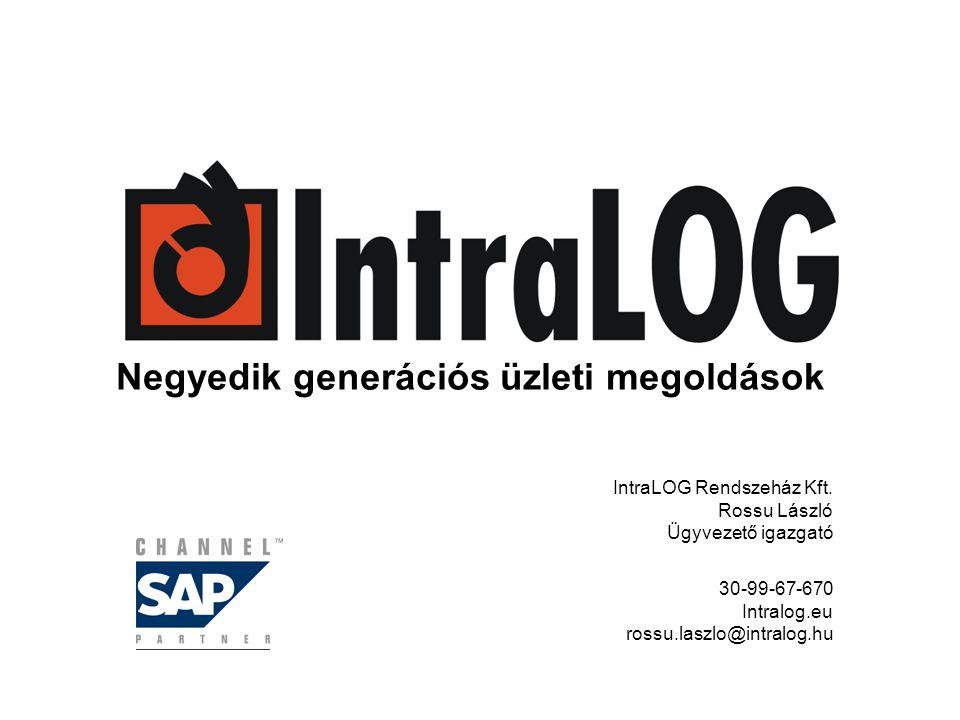 Negyedik generációs üzleti megoldások IntraLOG Rendszeház Kft. Rossu László Ügyvezető igazgató 30-99-67-670 Intralog.eu rossu.laszlo@intralog.hu
