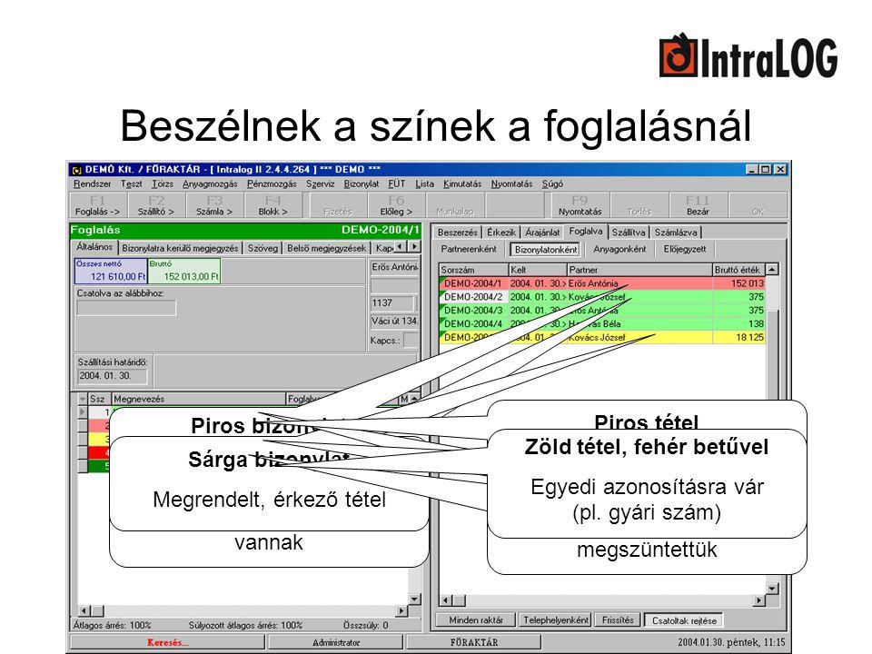 Beszélnek a színek a foglalásnál Zöld bizonylat A bizonylat tételei raktáron vannak Piros bizonylat Valamelyik tételt rendelni kell Sárga bizonylat Me