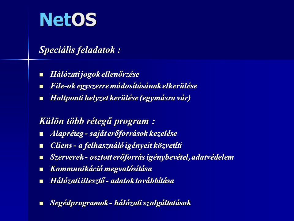 NetOS Speciális feladatok :  Hálózati jogok ellenőrzése  File-ok egyszerre módosításának elkerülése  Holtponti helyzet kerülése (egymásra vár) Külö