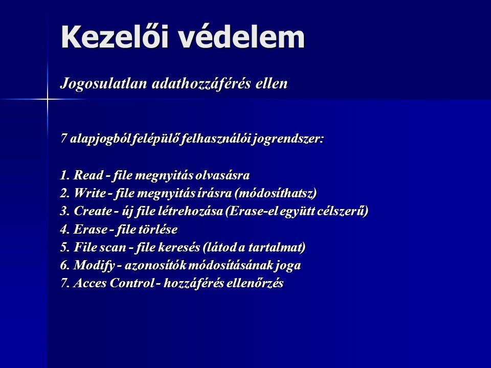 Kezelői védelem Jogosulatlan adathozzáférés ellen 7 alapjogból felépülő felhasználói jogrendszer: 1. Read - file megnyitás olvasásra 2. Write - file m